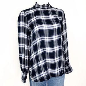 LOFT Ann Taylor | Plaid High Neck Shirt Blouse